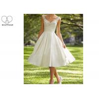 Wholesale Knee Length Short Beaded Wedding Dress Satin ,  Inside Lining Fabric from china suppliers