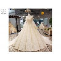 Wholesale Luxury Champagne Ladies Bridal Gown , Tulle Lantern Long Sleeve Bridal Dresses from china suppliers