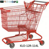 Wholesale Red Powder Coating Small Metal Shopping Carts For Seniors / Grocery Shopping Trolley from china suppliers