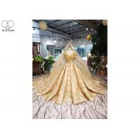 Wholesale Gold Unique Vintage Prom Dresses Beads Tassels Heart Shaped Bust Shiny Lace from china suppliers