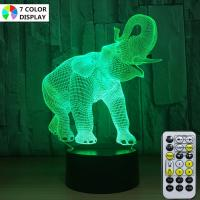 Wholesale 3D Elephant Lamps for Boys Night Light Gifts Bedroom Elephant Gift 7 Colors from china suppliers