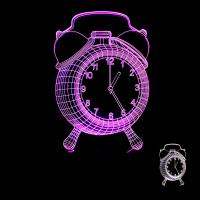 China Creative home furnishings Clock colorful 3D night lights table lamp Alarm clock 3D LED illusion lamp on sale