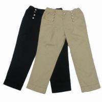 China Girls' Casual Pants/Chino Pants for 4-16-year Old, Made of 100% Cotton Twill/Available in Two Colors on sale