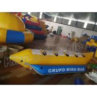 Blue And Yellow Inflatable Fly Fishing Boats / Inflatable Banana Boat 4 Seats for sale
