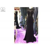 Wholesale Sleeveless Sexy Black Mermaid Dress Perspective Top Heavy Beading Small Train from china suppliers