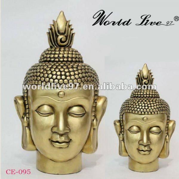 China Supplying Resin Buddha Head Golden Buddha Statue Of
