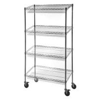 Wholesale Retail Storage Systems  4 - Tier Slanted Wire Shelving Suture Cart Chrome Finish from china suppliers