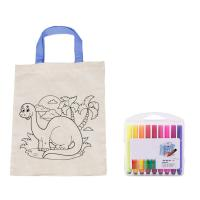 Coloring Cotton Canvas Tote Bag For Kids DIY Drawing OEM Accepted