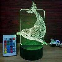 Buy cheap Indoor Acrylic 3D LED the Dolphins Night  Light for Gift ,Cute Dolphins Decoration LED Light in many colors from wholesalers