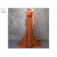 Wholesale Orange Mermaid Ladies Party Wear Gown Long Tail Blue Beads Hanging Neck from china suppliers