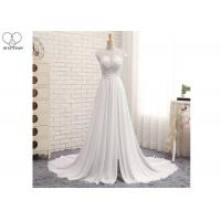 Wholesale High Slit A Line Bridal Gowns / Cream Colour Wedding Gown Open Back Pleated Tail from china suppliers