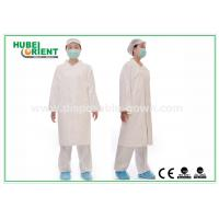 Tyvek disposable white lab coats , medical protective clothing Korean Collar and Zip