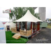 China High Peak 5m Width 2 People Luxury Glamping Tents With Wooden Flooring System on sale