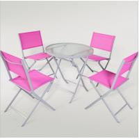 China outdoor iron sling textilene mesh fabric folding armless chair and table garden furniture on sale