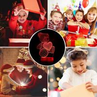 Wholesale Teddy Bear 3D Illusion Lamp Night Light Touch 7 Color Changing Table Lamps Nursery Bed Room Decor Christmas Bi from china suppliers