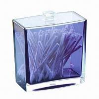 Wholesale Thick Acrylic Cotton Swab Box, Various Colors are Available, Measures 10.5 x 6.3 x 11.5cm from china suppliers