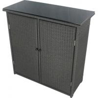 Outdoor Wicker Cabinet: Black Resin Wicker Patio Furniture Poly Rattan Storage