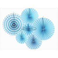 Wholesale Light Blue Christmas Paper Fan Decorations , 14 Inch Paper Fan Party Decorations from china suppliers