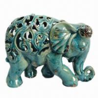 Ceramic Elephant With Crackle Blue Finish For Home Decorations 95648875
