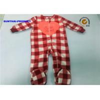 Buy cheap Heart Applique Plaid AOP Newborn Boy Pram Suit Crew Neck All Over Print Coverall from wholesalers