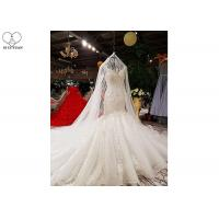 Wholesale Off White Wedding Ladies Bridal Gown Custom Beading Lace Long Fishtail Bandage from china suppliers