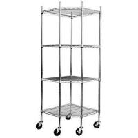 Wholesale 4 - Layers Silver Stainless Steel Shelving Units On Wheels Resist Corrosion from china suppliers