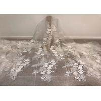 "Wholesale Off White Mesh 3D Flower Embroidery Beaded Lace Fabric 50"" Wide 1 Yard from china suppliers"
