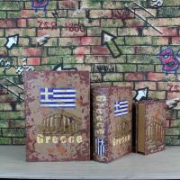Wholesale Greece Flag  Rusting Look Antique Style Decorative Nesting Book Storage  Box Set of 3 from china suppliers