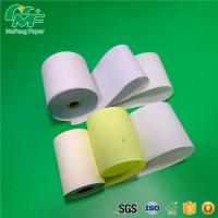 China White Color 3 Ply Carbonless Paper Rolls , Carbonless Receipt Paper 100% Virgin Wood Pulp on sale