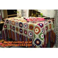 China Handmade Crochet Yarn Baby Sheet Blankets Granny Square Afghan Coverlet Table Clothes on sale