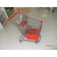 Wholesale 80L Supermarket Shopping Trolley With Grey Powder Coating And Shopping Basket from china suppliers