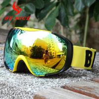 Anti Uv Gold Youth Ski Goggles Mirror Lens With Drop Ball Test Certification