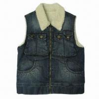 China Women's Med Blue Cotton/Polyester/Spandex Denim Vest with Sherpa Lining, Comfortable and Fashionable on sale