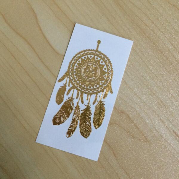 Dream catcher body gold foil tattoo sticker of item 102344571 for Gold foil tattoo