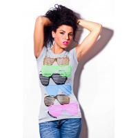 Wholesale Womens short sleeves tshirt round neck glasses printing front from china suppliers