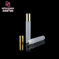 Wholesale Free samples cosmetic frost natural plastic 15ml roll on bottle with gold aluminum cap from china suppliers