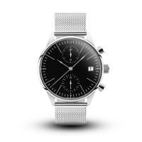 Wholesale Custom Logo Chronograph Silver Stainless Steel Watch With Black Face from china suppliers
