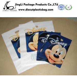 Buy cheap LDPE Die Cut Handle store Plastic Bags resealable / Custom Logo , 100mm width from wholesalers