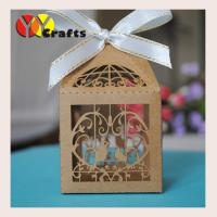 China Laser cut wedding favor box kraft paper chocolate packaing box for wedding party favor and gifts free name logo on sale