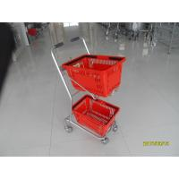 Wholesale Supermarket Steel Wheeled Shopping Basket With 3 inch PVC / PU / TPR Wheel from china suppliers
