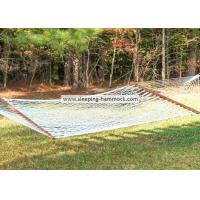 Soft Spun Polyester Single Person White Rope Hammock  With Solid Hardwood Spreader Bars