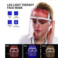 China 3 Colors LED Light Photon Therapy Facial Mask Skin Rejuvenation Anti Wrinkle Spot Acne Removal Face Lift Skin Firming Wh on sale