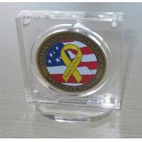Wholesale Military Challenge Coin Poker Chip Display Case Holder with Stand, Clear Acrylic with Magn from china suppliers