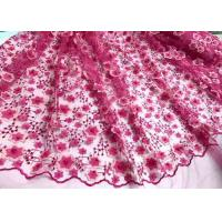 Wholesale Colored Handmade 3D Flower Lace Fabric , Scalloped Embroidered Mesh Lace Fabric from china suppliers