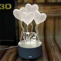 Buy cheap Sweet Heart Indoor Acrylic 3D LED  Night  Light for Gift , Decoration LED Light in many colors from wholesalers