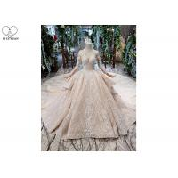 Wholesale Irregular Ladies Bridal Dress , Beaded Ball Gown Wedding Dress Two Layer Trailing from china suppliers