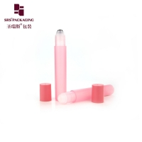 Wholesale Empty cosmetic round shape pink color 15ml plastic roll on bottle from china suppliers