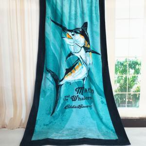 Whalers Black Rimmed Designer Beach Towels / Printed Bath Towels 640g