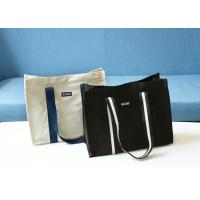 Wholesale Printed Canvas Shopping Bags With Leather Handle / 20OZ Cotton Fabric from china suppliers