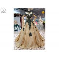 Wholesale Sparkly Gold Off The Shoulder Prom Dress Green Lace Short Sleeve Sweep Train from china suppliers